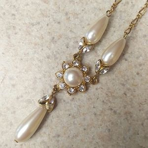 Gold and Pearl holiday or Bridal necklace